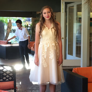 50's inspired wedding, homecoming, prom, quinceinera, sweet sixteen, or special occasion lace and tulle dress.