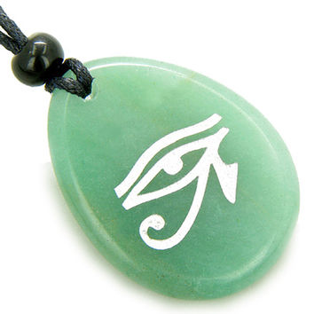 Magic Eye of Horus Amulet Green Quartz Word Stone Lucky Pendant Necklace