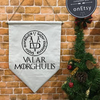 Valar Morghulis Game of Thrones banner flag and hanging device, wall banner flag, wall hanging decoration funny gifts