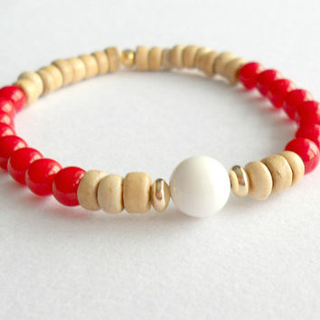 Red Coral and Natural Coconut with Tridacna Shell and 14K Gold Stacking Bracelet // Red Gemstone Bracelet // Reiki Jewelry