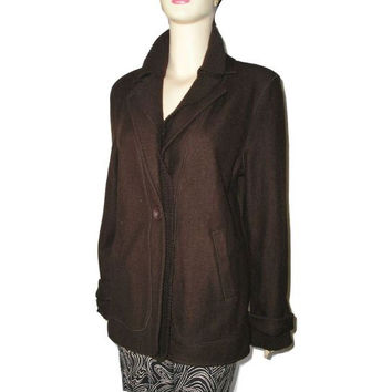 Vintage JNY SIGNATURE Brown Boiled Felted Wool French Cuffs Fitted Jacket L Plus Size Casual Elegance Felted and Knit Wool Trims Warm Jacket
