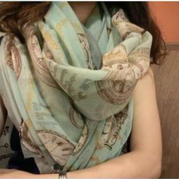 Porcelain Style floral Thin Scarf