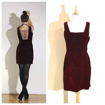 Plum Velvet Dress Unique Strappy Sexy Back Sleeveless Short Grunge Goth Minimal Classic 90s Dress size Medium
