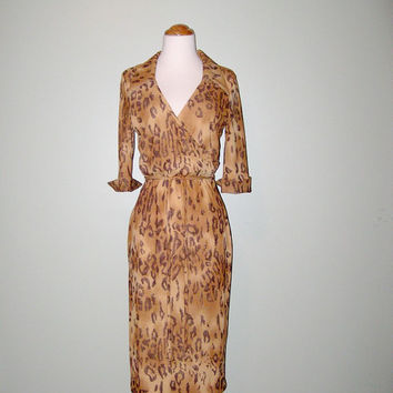 1970s Sexy Leopard Animal Print Belted Dress Women size Small
