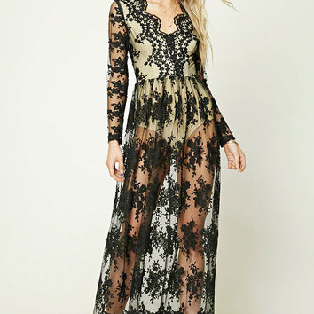 Embroidered Lace Overlay Dress