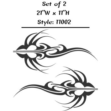"Vehicle Tribal Flames Vinyl Decal Sticker Car Truck Boat Graphics Racing - STYLE T1002 - Set of (2) 21""W X 11""H"