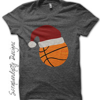 Basketball Iron on Transfer - Iron on Christmas Shirt PDF / Boys Christmas Outfit / Santa Basketball T-Shirt / Kids Orange Clothing IT326-C