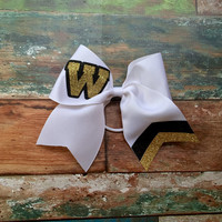 Custom Cheer Bows, School Lettering, Monogrammed, Black, Gold, Cheer Camp, Glitter Cheer Bow, Customized, Personalized Team Cheer bows
