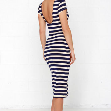 Close Nauti-Call Beige and Navy Blue Striped Midi Dress