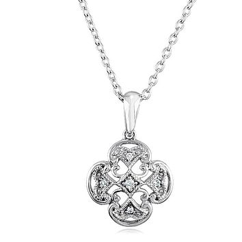 Vintage Style Diamond Maltese Cross Necklace in Sterling Silver