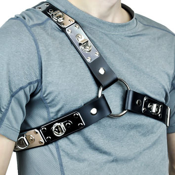 Metal Plate D Ring Black Leather Fashion Harness