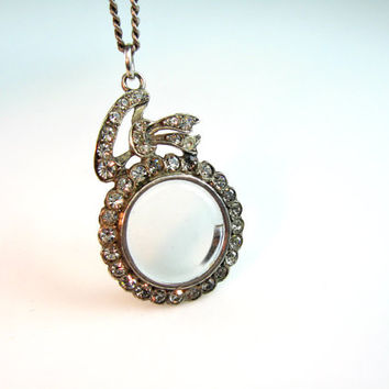 Antique Edwardian Locket Necklace. Photo Locket. Keepsake Pendant. Hinged Crystal & Paste Pendant. Sterling Silver 1910s Jewelry.