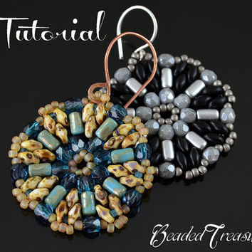 "Beading pattern ""Mandala"" earrings/ Beading tutorial/ SuperDuo, Rulla, Seed beads / TUTORIAL ONLY"