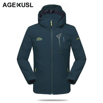 AGEKUSL Men Waterproof Sports Jackets Autumn Spring Cycling Jacket Windproof MTB Bike Bicycle Hiking Fishing Hooded Coat Clothes