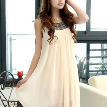 2 Colors Korean Style Chiffon Women Round Neck Beading Sleeveless Dress Casual Loose Big yard women dress = 1931763652