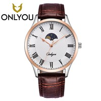 Onlyou Womes Watches Rose Gold Watch New Brand Lover Watch Luxury  Leisure Leather Waterproof Quartz Men Watches Male Clock