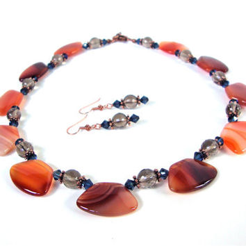 Carnelian agate and smoky quartz necklace - orange and brown necklace - chunky gemstone necklace- statement necklace by Sparkle City Jewelry