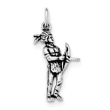 Sterling Silver Antiqued Indian Man with Bow and Arrow Standing Pendant