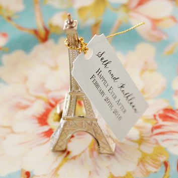 "Eiffel Tower, Parisian, Paris, French inspired Wedding Favor with Custom Tag ""Happily Ever After"""