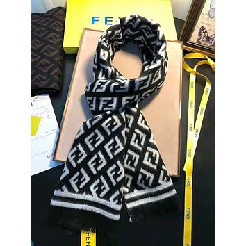 FENDI Winter Trending Women Men Stylish F Letter Cashmere Cape Scarf Scarves Shawl Accessories