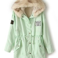 Sheinside Mint Green Fur Hooded Zipper Embellished Fleece Inside Military Coat (One-Size, Mint Green)