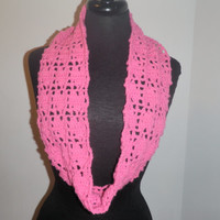 Valentines day pink heart infinty scarf, vegan friendly heart infinity scarf