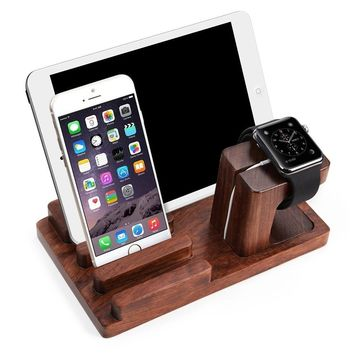Apple Watch iPad iPhone Wooden Stand,Feitenn Bamboo Wood Charging Stand Desktop Station USB 2.0 Hub Bracket for iPhone 7 Samsung S8 LG G6 iWatch Ipad kindle (Dark Brown)