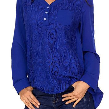 Mode Chic Blue Lace Panel Split Neck Roll Tab Sleeve Blouse