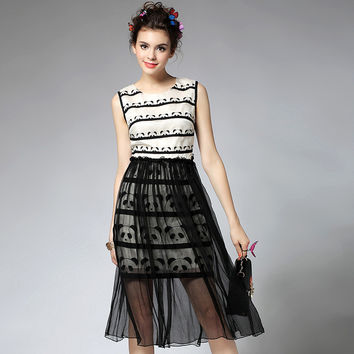 Panda Print Sleeveless Dress