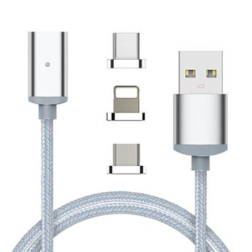 2 in 1 Magnetic Charging Cable Combo - Fast Phone Charger/Data Transfer Sync For Android and Apple - Micro Usb Lightning Quick Adapter for Smartphone & Tablets by Samsung Galaxy S5 S6 S7 Iphone 6 7 [10809403331]