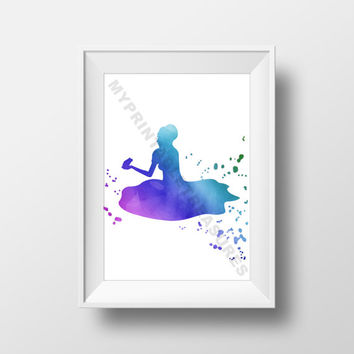 Princess and the Frog Prince Watercolor Wall Art, Fairy Tale Theme Girls Room Decor, Baby Shower Gift, Princess Birthday Party