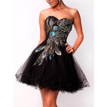 Sweetheart peacock embroidered short strapless prom dress