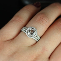 Morgan 14kt White Gold Thin Morganite Round Halo with a Split Band Wedding Set (Other metals and stone options available)