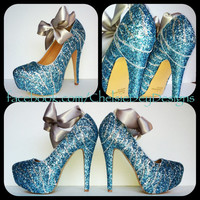 Zebra Glitter High Heels with Ankle Bow by ChelsieDeyDesigns