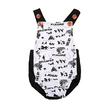Newborn Baby Boys Girls Painting Romper scrawl button Jumpsuit Outfit Back-cross  Sunsuit Clothes