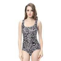 Bathing Suit Keith Haring 3D Digital Printed Women Swimsuit Beach Wear Sexy Sleeveless One Piece Swimwear