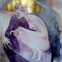 Modern Painting, Original Painting, Woman Painting, Woman Watercolor, Gold Painting, Hand Painted Art, Erotic Painting, Modern Watercolor