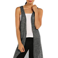 Shimmering Knit Hooded Maxi Vest