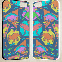 Nineties Dinosaur Pattern A1689 iPhone 4S 5S 5C 6 6Plus, iPod 4 5, LG G2 G3, Sony Z2 Case