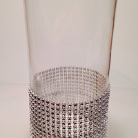 Bling vase centerpiece with faux rhinestones-bling table arrangement-bling wedding-sparkle centerpiece-sparkle candle holder-bling candle