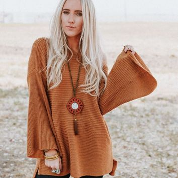 Begin Again Bell Sleeve Sweater - Coffee