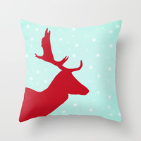 Oh Deer (red & blue) Throw Pillow by Sandra Arduini