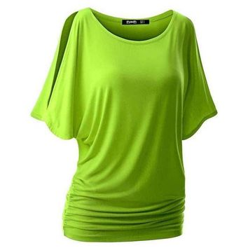 PEAPGC3 Summer Spring Women O-neck T Shirt Short Sleeve Crew Neck Cut Out Off Shoulder Top