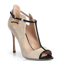 Suede & Leather T-Strap Pumps