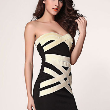 Black Strapless Bandeau  Crisscross  Pattern Mini Dress