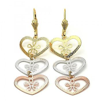 Gold Layered 5.117.017 Long Earring, Heart and Flower Design, Diamond Cutting Finish, Tri Tone