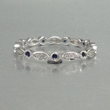 Natural Sapphire and Diamond,Full Eternity Wedding Ring,Solid 14K White gold,Anniversary Ring,Art deco,stackable,milgrain,Valentine's Gift