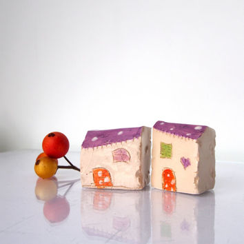 Pottery and ceramics little clay houses. Tiny Croatian village set of 2 ceramic cottage Housewarming gift little houses, Ceramic house