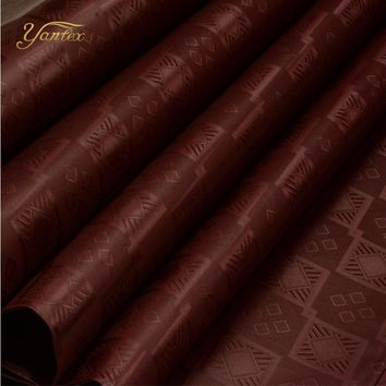 YANTEX-10 Yards Brown Color Austria Quality Bazin Riche Fabric(Similar To Getzner)Jacquard Guinea Brocade Fabric Shadda Perfume
