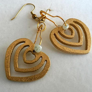 Gold heart Wood Earrings, Wooden Jewelry, Handmade Earrings, Happy Boho earrings, Eco Gift for her